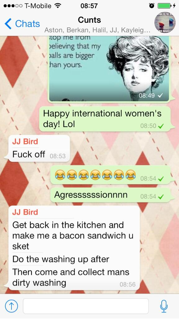 RT @SamanthaRia: @JJ8ird is in full support of international women's day ... Lol http://t.co/TY1bwHOFCV