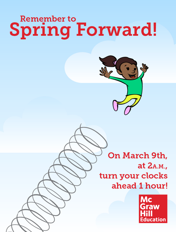 Remember: Set clocks ahead 1 hr tonight! Spring #DaylightSavings starts at 2AM on March 9th #EdChat #springforward http://t.co/zVEI1vGEmE