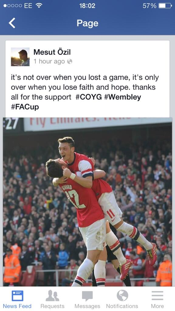 Arsenal star Mesut Ozil posts deep message & celebratory photo to Facebook post win v Everton