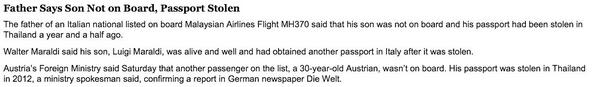 Luigi Maraldi and one other stolen passports used on Malaysia Airlines MH370