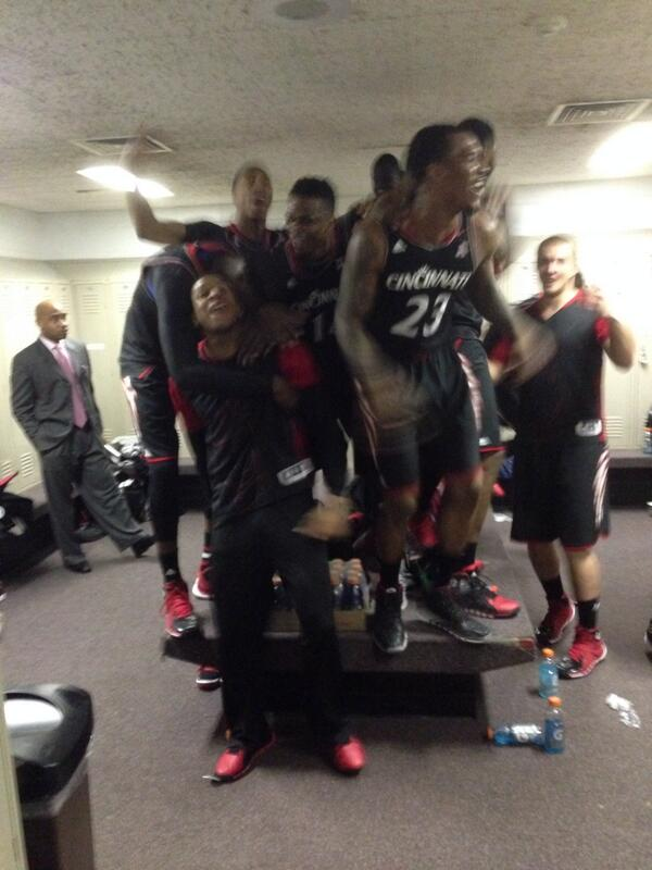 Celebration underway in the #Bearcats locker room. http://t.co/o23qgDHYBH