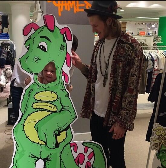 @dougiemcfly taking care of business with the Dino cut out @Selfridges today . http://t.co/bvn2rh6og0