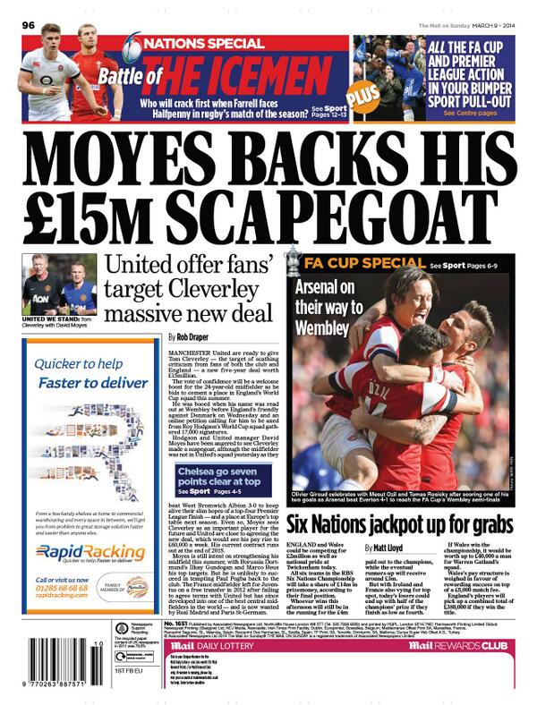Man United close to giving Tom Cleverley a new 5 year contract worth £15 million [Mail on Sunday]