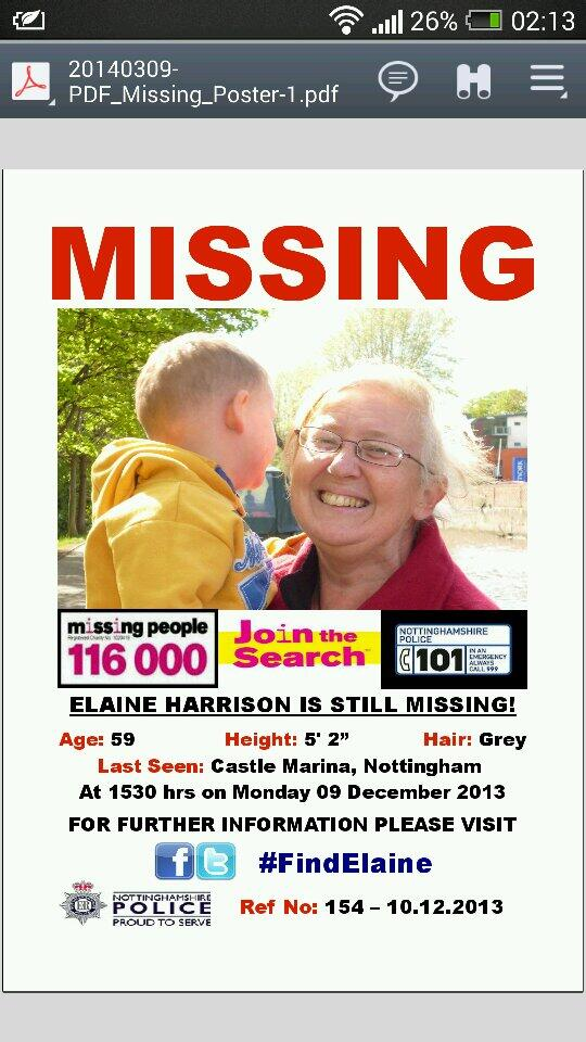 RT @lardlikesdogs: @ZoeTheBall PLS RT Missing Person Nottingham  #FindElaine  @AndyHarrison80   http://t.co/4jzA0RjHC5   http://t.co/meM273…