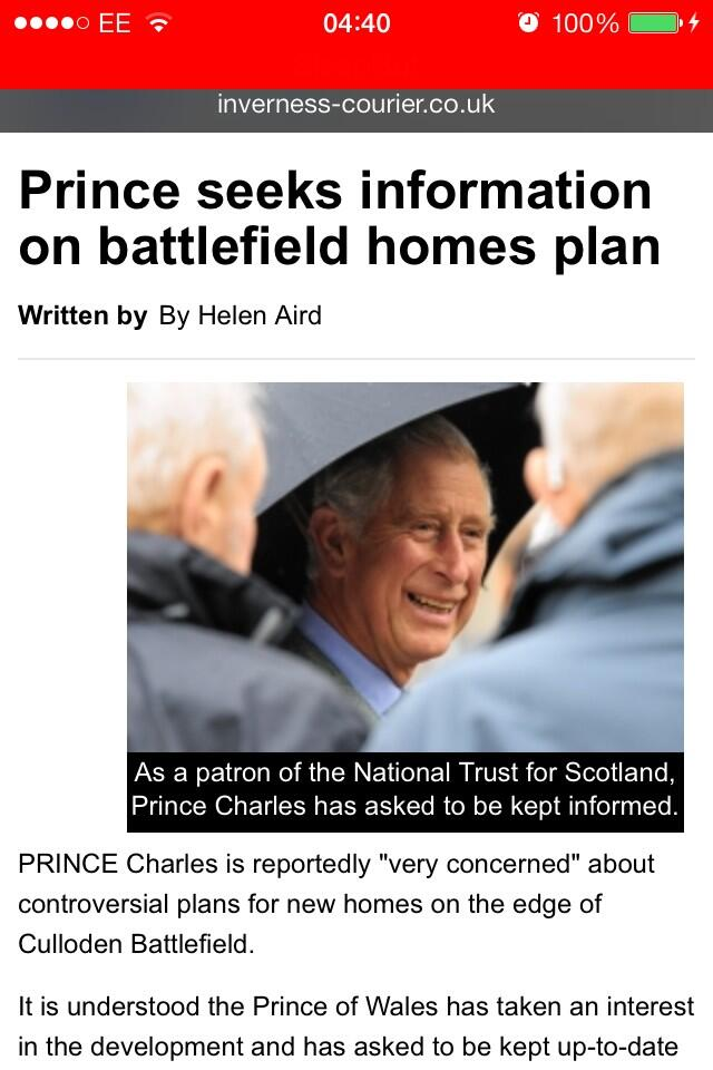 RT @jces999: @Team_Barrowman #culloden Save Culloden Battlefield from housing development-Prince Charles concerned http://t.co/FQDriIFGut