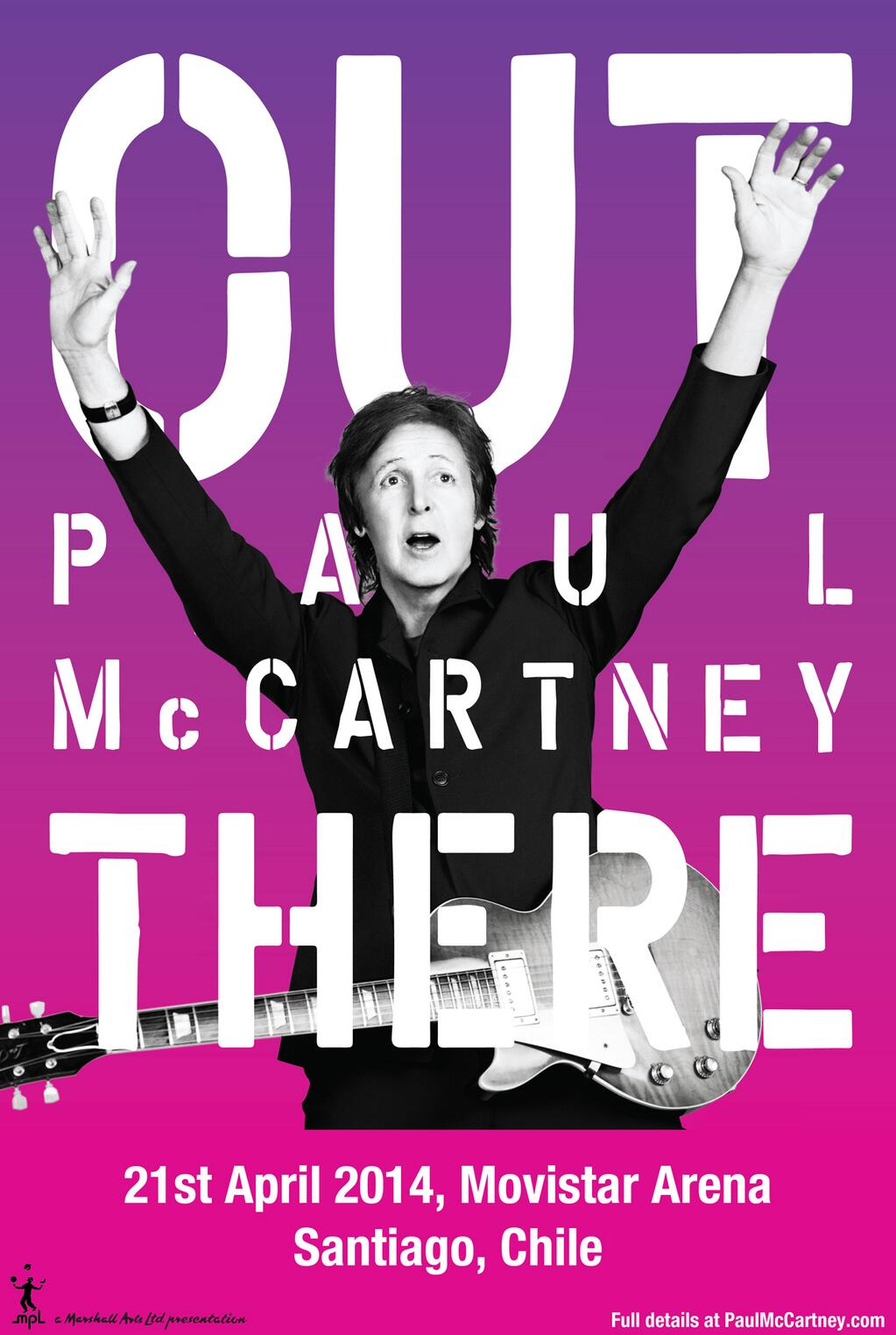 Paul will be getting back #OutThere on April 21st at the Movistar Arena in Santiago! Details: http://t.co/85tljehWf8 http://t.co/vbDwunWtkp