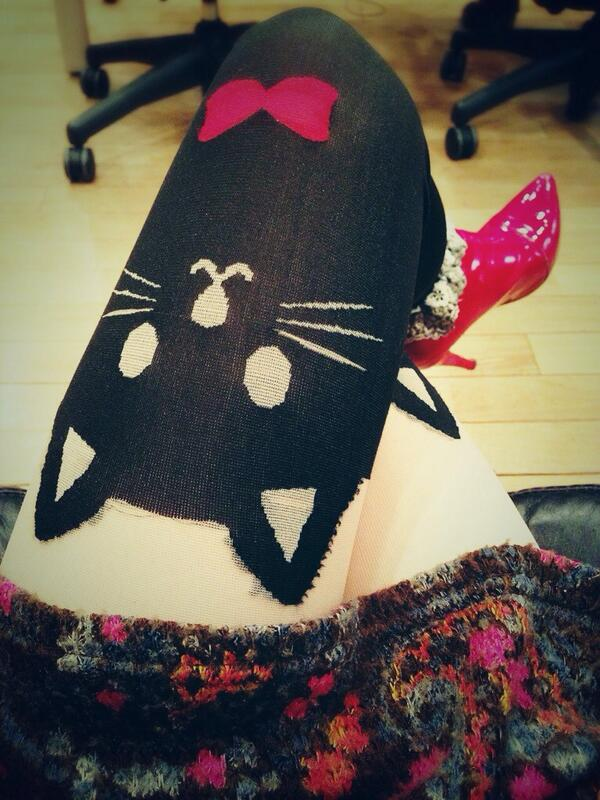 (●ↀωↀ●)✧今日のタイツは猫たん♡♡♡