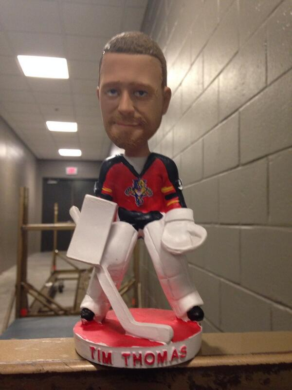 It's Tim Thomas bobblehead day at the Panthers game. Yes, still. http://t.co/gdqjn0U2Fg