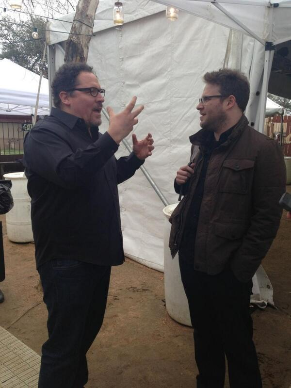 Meeting of the minds at @funnyordie: @jon_favreau & @Sethrogen. #Chef #SXSW #FODxFB http://t.co/hzfZVMH9WU