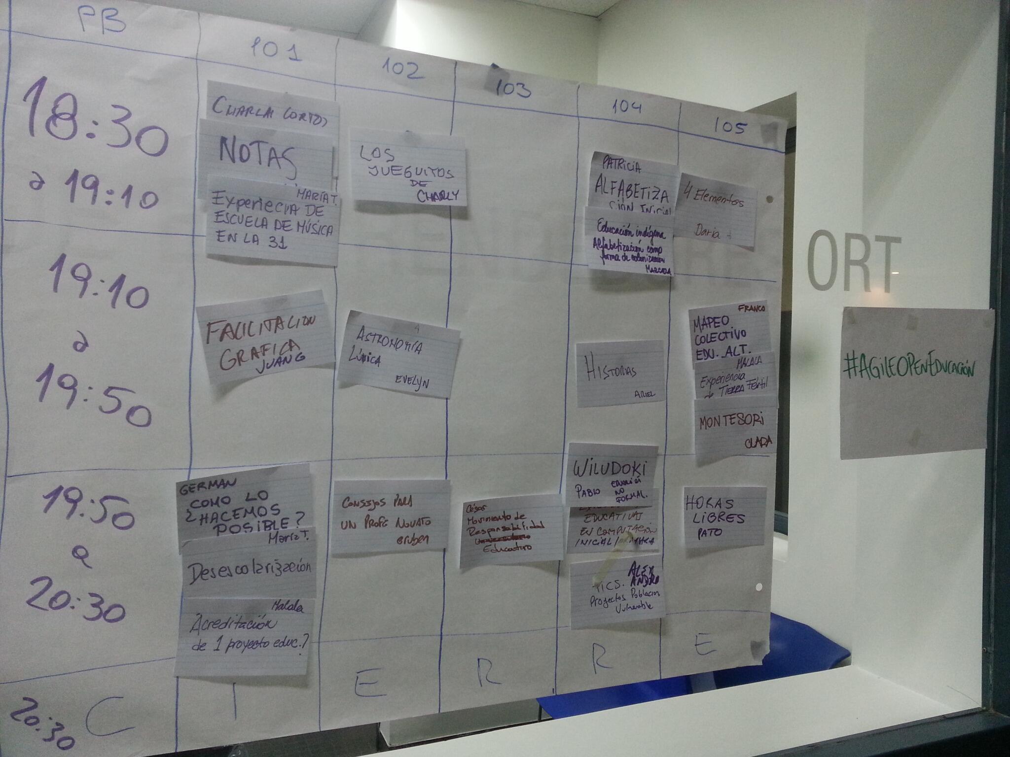 Agenda de sesiones del evento