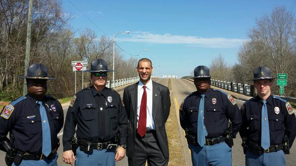 Moving experience-with AL troopers at Edmund Pettus Bridge on 49th Anniv. Bloody Sunday @JointCenter http://t.co/azgdOIHeNJ