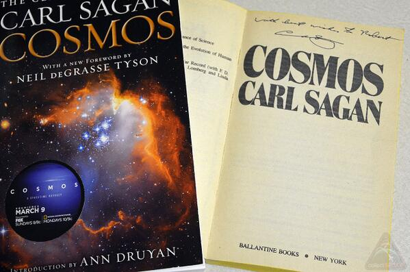 Relating to @neiltyson's #CarlSagan @CosmosOnTV story. Met Sagan at @Cornell when a teen, too. My signed #Cosmos: http://t.co/yOkyFmUlgh