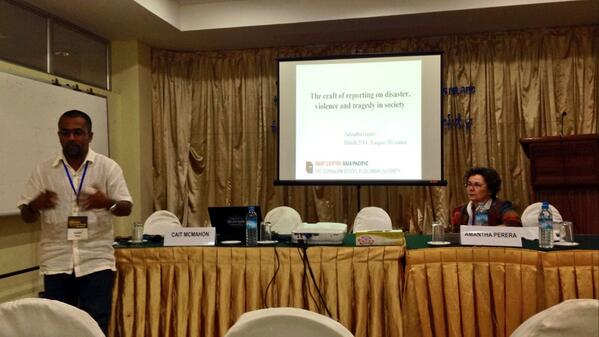 Amantha Perera talks about covering victims of disaster & violence at #eastwestmedia http://t.co/eqXTtZ3chG