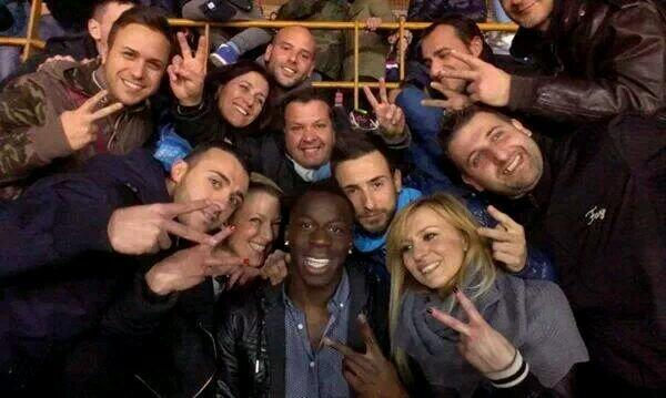 Liverpool defender Aly Cissokho sat with Napoli fans on Sunday night for the match against Roma [Pictures]