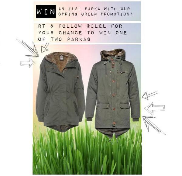 Want to #win an IL2L Parka? Simply RT and follow for a chance of winning! #Competition ends this Friday - GOOD LUCK! http://t.co/7lHOiLmrkz
