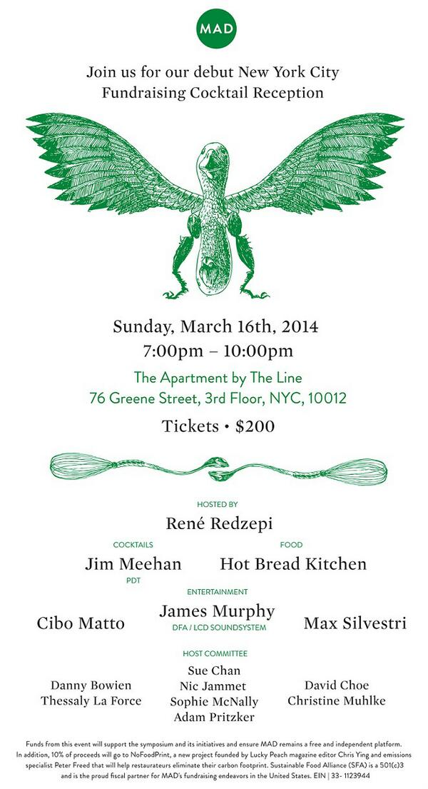 Join @ReneRedzepiNoma @alexatala @lcdsoundsystem, @CiboMattoCiboMa & others to benefit @TheMADFeed next Sunday. http://t.co/knUdauXxTc