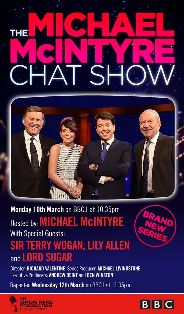 Big night tonight! Michael makes his Chat Show debut! BBC1 10.35pm! With Sir @Terry_Wogan, @Lord_Sugar @LilyAllen http://t.co/46ZdZnDVXr
