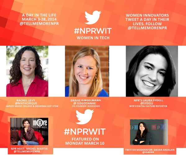 Welcome to our #NPRWIT @Twitter show for Monday March 10th with @NPR's @Sydell, @mathcirque & @Indiegogo's @gogoDanae http://t.co/ILf4L59tVi