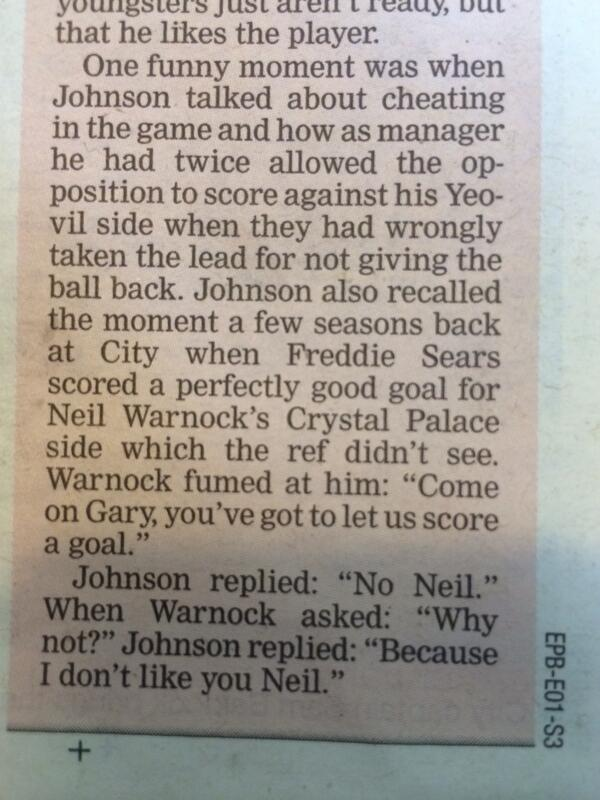 #Ytfc RT @philbowden: Brilliant from Gary Johnson #bristolcity http://t.co/HseC4cOmPz