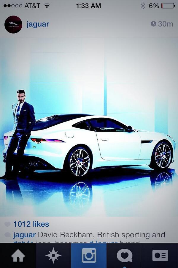#DavidBeckham Promoting #jaguar #FTYPECOUPE #feelsgoodtobebad  #howaliveareyou?pic.twitter.com/AaYGevRFwv