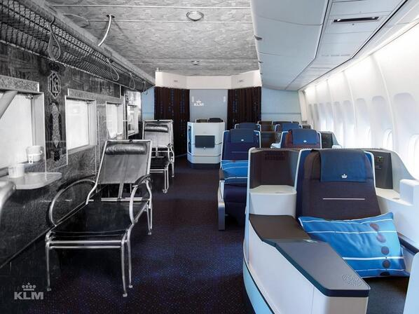 [pic] How KLM's Business Class has evolved in 80 years. The only similarity: Full flat beds #avgeek #PaxEx http://t.co/q7dIJCfLpe