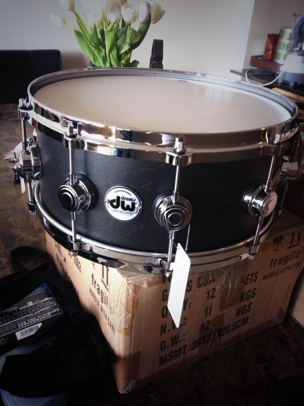 Thank you so much @dwdrums can't wait to use my new 10+6 6x14 black satin oil snare on this next tour! http://t.co/fDureZs23q