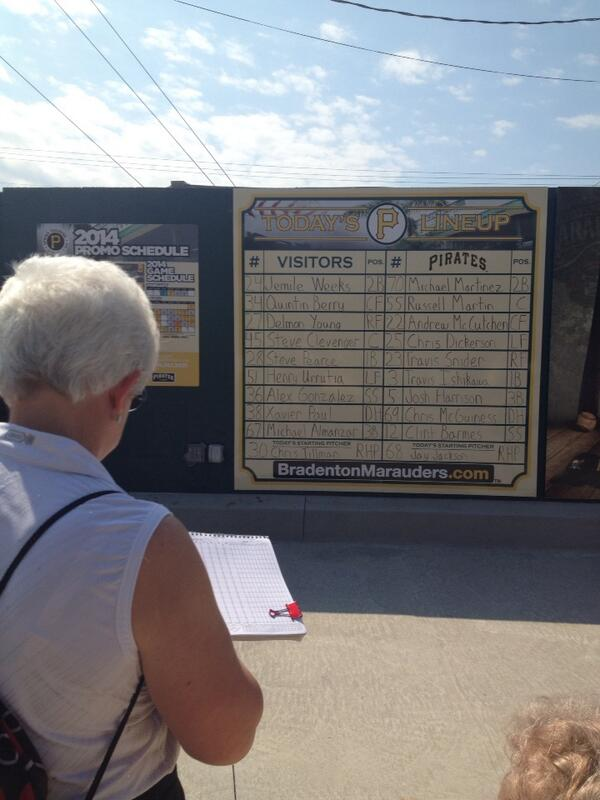This fan is getting her scorecard ready at McKechnie Field for #Orioles vs #Pirates. http://t.co/pWupm6XrLF