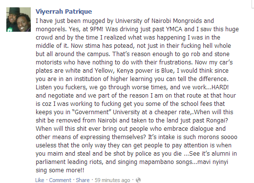 UON peeps, see what you made a man of God write on his FB wall. These gospel people of ours. SMH http://t.co/fq7YcJdHXK