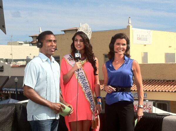 Yesterday with the beautiful @Laurieon10 & @Calvinlocal10 from #CalleOcho #channel10news @Carnaval_Miami http://t.co/oJ64YXsK3Y