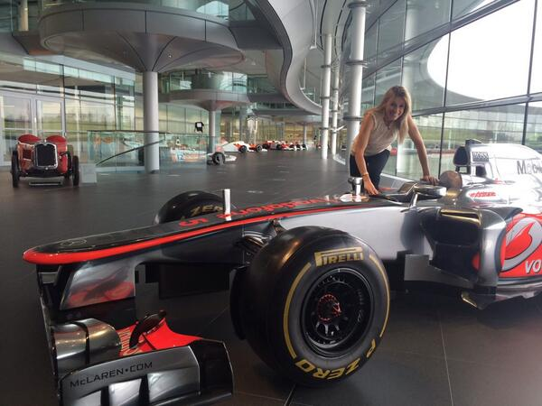 Fun @BBCClick filming at McLaren. Offices quite something, but seriously, how does a grown man fit inside these? http://t.co/3Nh02lZ51S
