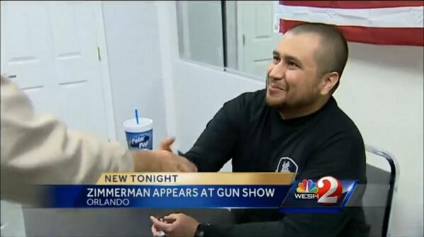 Here's George Zimmerman–whose only claim to fame is killing an unarmed black teen–signing autographs at a gun show. http://t.co/MLqnvPCoC7