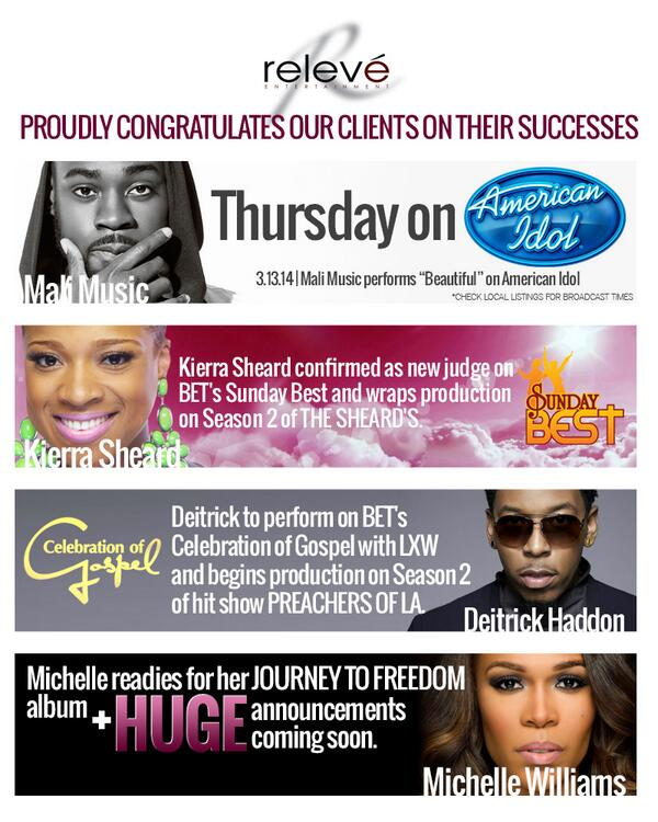 Congratulations @DeitrickHaddon, @MaliMusic, @KierraSheard & @RealMichelleW, there is even more success to come! http://t.co/czeoWiQJ3j
