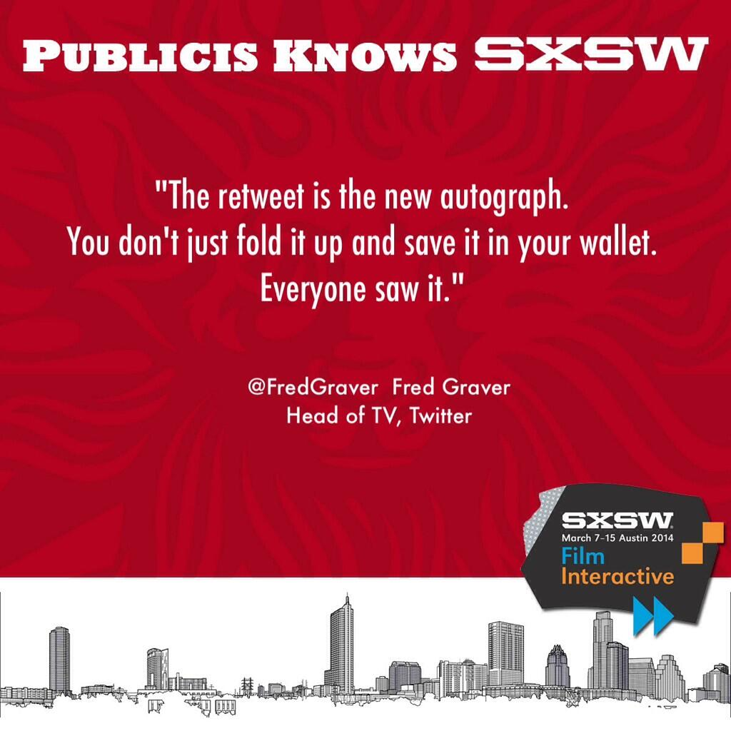 Life in the digital age. Comments from @fredgraver #PublicisKnows #SXSW http://t.co/qMrA0qN1B9