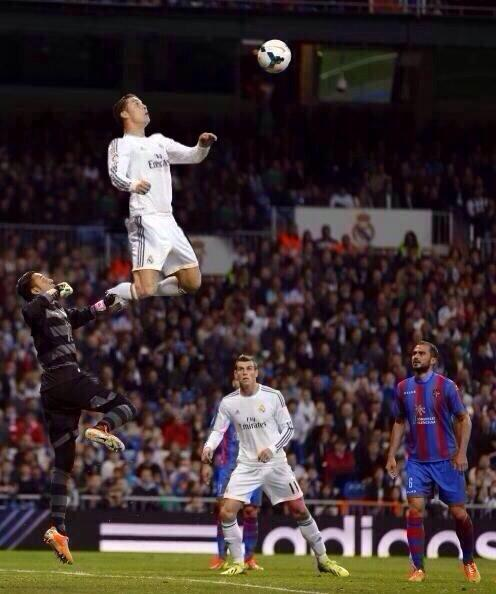 Photoshopped! Cristiano Ronaldos ridiculous leap during Real Madrids 3 0 win over Levante [Picture]