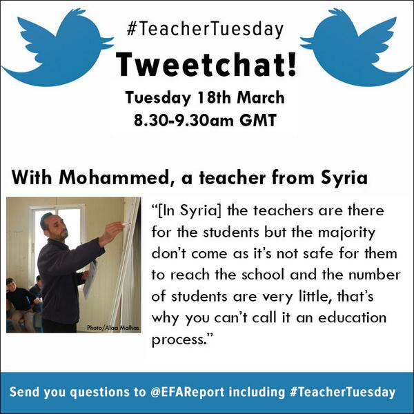 In 1hr, tweetchat w/ Syrian teacher Mohammed on what it's like teaching during conflict.Send yr Qs to #TeacherTuesday http://t.co/Bo6Unvf4sc