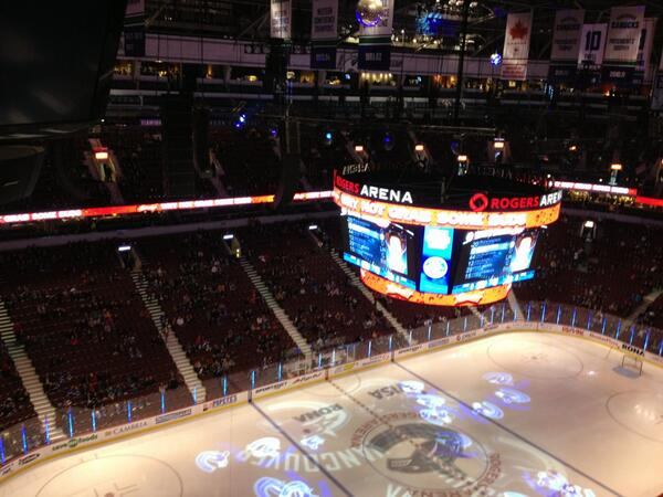 About 10 minutes or so from puck drop here at Rogers Arena and, well, looks like a sparse crowd... http://t.co/nnbT4M0q1v
