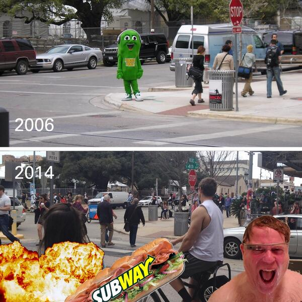 The corner of 4th and Neches at #SXSW Interactive in 2006 vs. 2014. http://t.co/iKSdhbivxD