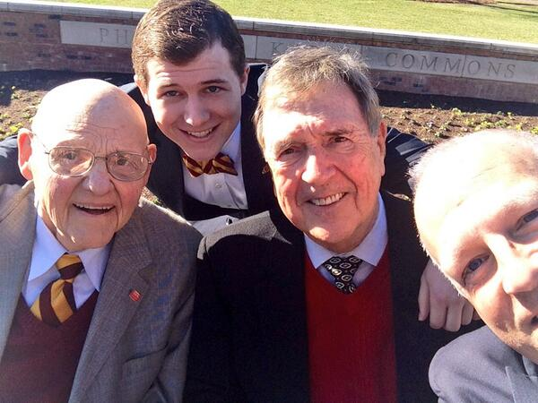 How's THIS for a selfie? #Elon's three living presidents & @ElonSGA's executive president. #ElonDay @HeadPhoenix http://t.co/GtpES7IOev