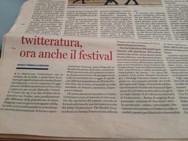 E bravi @TorinoAnni10 e @piervaccaneo oggi su @pagina_99 con #Twitteratura http://t.co/gI4NWh9Gek