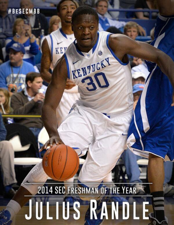 Kentucky's Julius Randle named SEC Freshman of the Year http://t.co/TzBFxdd6RG