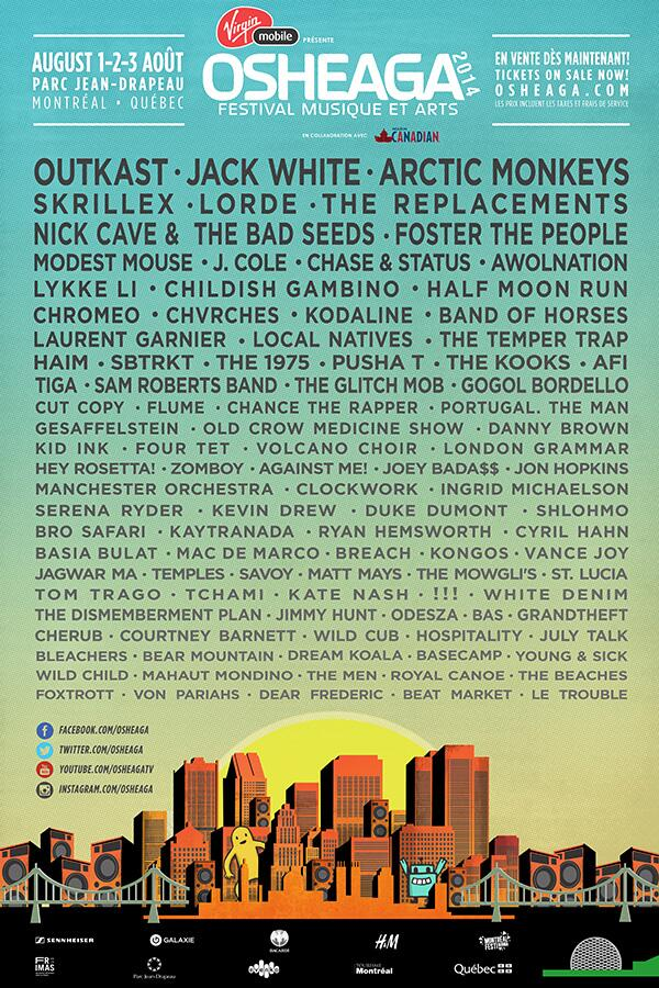 Here it is, #Osheaga2014 lineup. No Queens Of The Stone Age. Told you there were no clues for that band. http://t.co/KVPbbMFUlj