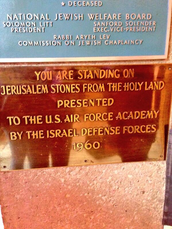 Jerusalem stone from the Holy Land?!? Should we take our shoes off? #2014SingersTour #BadJokes #AirForceAcademyChapel http://t.co/TISfafb9md