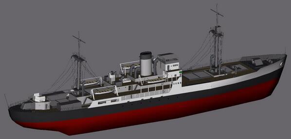 ドイツ海軍仮装巡洋艦「トール」 兵装は 15cm単装砲×6、6cm速射砲×1、37mm機関砲1、20mm連装機関砲×4、53cm連装魚雷発射管×2、機雷60個、アラド水上偵察機×1になります  戦果もかなりありますね.... #艦これ