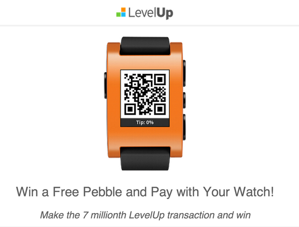@TheLevelUp is nearing our 7,000,000th txn. Be the lucky user to make it & win an @Pebble watch + $250 of credit. http://t.co/0crZ6Ptwlr