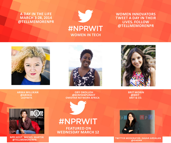 Welcome to our #NPRWIT @Twitter show for Wednesday March 12th. Today, we are joined by @kenyanpundit @Brit & @Arikia http://t.co/nd6tEL7EfN