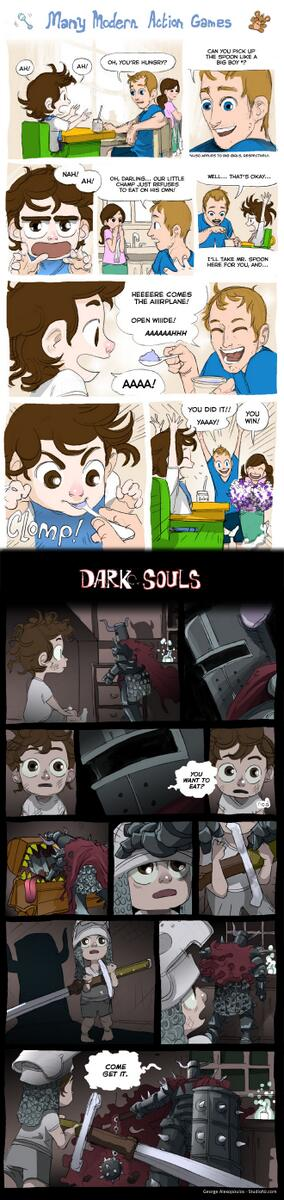Dark Souls isn't difficult. It just doesn't spoon feed and hand hold you. Please see this comic. http://t.co/jpMOUGVyyO