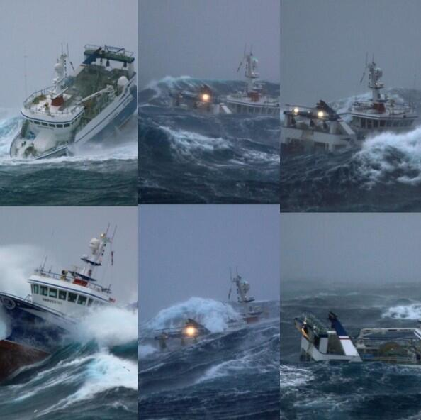 the Peterhead trawler in the North Sea. next time you have fish for dinner think of these guys. a bit choppy. http://t.co/pqQmNhy8RU