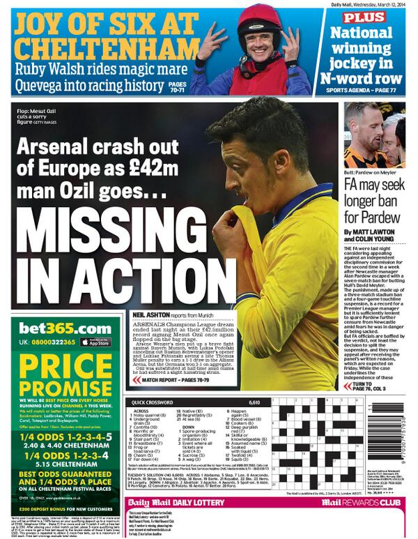Mirror & Mail rip into £42m flop Mesut Ozil after Arsenal go out to Bayern, even though he only played 1 half