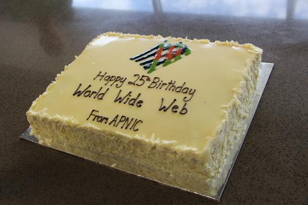 ...and here's the cake before we demolished it.  Happy Birthday, WWW! #web25 http://t.co/Z3onn4xe8b