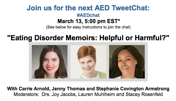 "In just over 90 minutes, we go live! #AEDchat 5pm ET ""#EatingDisorder #Memoirs: Helpful or Harmful?"" http://t.co/cfqed9eSxM"